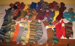 Die handgestrickten Socken
